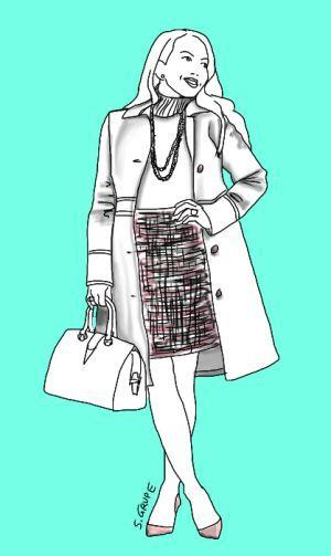 Das pastellige Ton-in-Ton-Outfit macht größer: Dafür sorgt nicht nur die monochrome Farbwelt, sondern vor allem auch der taillenhohe, kurze Bleistiftrock, der schlichte Rolli mit langer Kette, die spitzen Pumps und ein figurnaher, knielanger Mantel mit akzentuierter Taille.