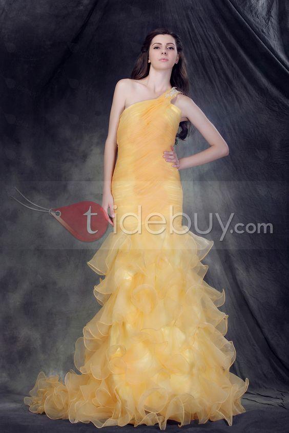 優雅なマーメイドワンショルダー床まで届く長さひだ飾りAnderai'sプロム/イブニングドレス