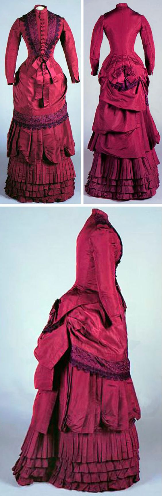 Day dress, c.1881. Plum silk faille and light brown polished cotton (lining), machine- and hand-stitched, with machine-embroidered eyelet lace, satin ribbon, silk thread-covered wooden (probably) buttons, and wool tape. Connecticut Historical Society http://emuseum.chs.org/emuseum/view/objects/asitem/search$0040/1/title-asc?t:state:flow=15fdc8ad-7e27-40f7-83c4-e6f17d701e55