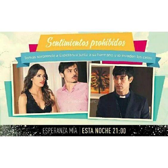 Hoy en Esperanza Mia: Sentimientos prohibidos.Tomas sorprende a Esperanza junto a su hermano y lo invaden los celos...