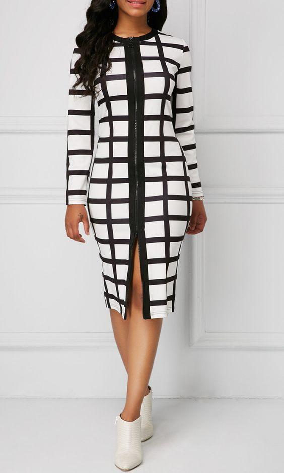 Plaid Print Zipper Front Long Sleeve Sheath Dress. .Formal