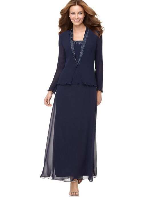 Patra Dress and Jacket Bead Accent Evening Dress - Womens Dresses