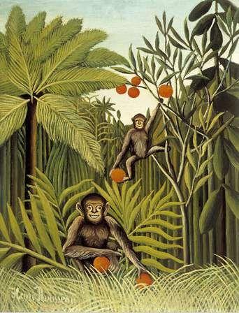 'le singes dans le `jungle`', huile sur toile de Henri Rousseau (1844-1910, France)