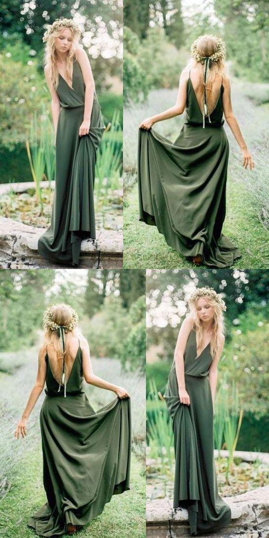 Bobo Vert Olive Col V Longue Robes De Demoiselle D Honneur Robe De Demoiselle D Honneur Demoiselle D Honneur Demoiselle D Honneur Boheme