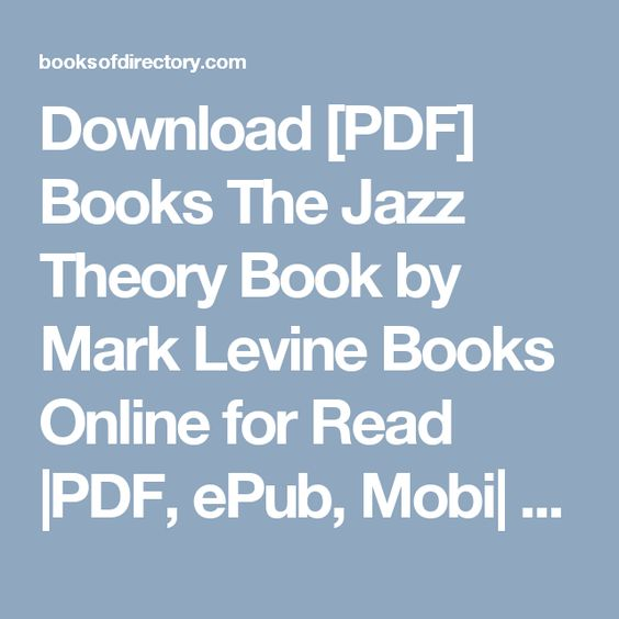the jazz theory book by mark levine free download