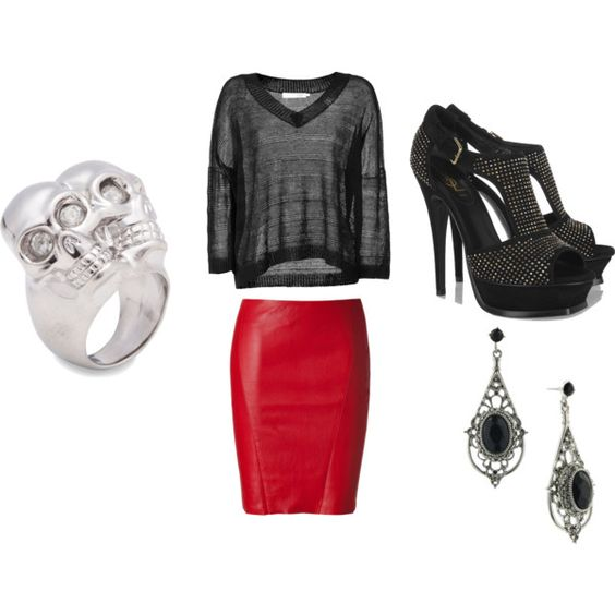 Red. Leather. Skirt