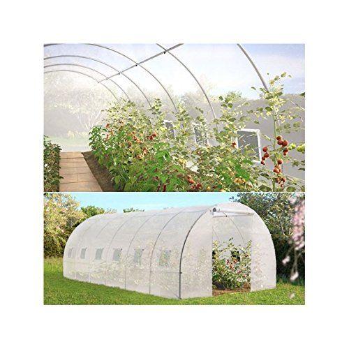 ProBache - Grande serre de jardin transparente 18 m² tunnel 7 arceaux pro galvanisé 6x3x2m: Amazon.fr: Jardin