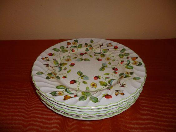 James Kent, Old Foley, Speiseteller, Strawberry, Erdbeere, 5 Stück, gebraucht | eBay
