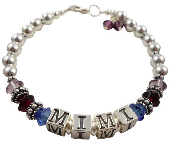 Mimi Bracelet- Mother's Bracelet- Grandma - Mother -Mom - Nana- Gammy custom birthstone- sterling silver -family- new baby- amethyst by NameBracelets on Etsy