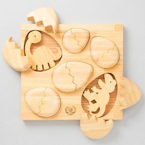 Wooden Baby Dinosaurs and Eggs