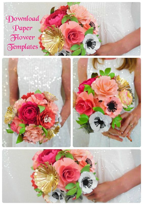 Want to learn how to DIY this paper flower bridal bouquet? Paper flower tutorial and templates. Printable flower templates and SVG cutting files. #weddings: