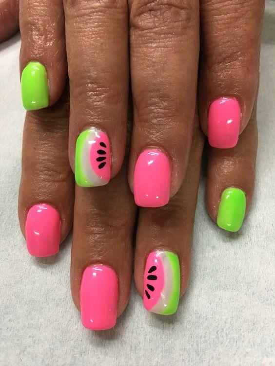 Summer Bright Pink Neon Green Watermelon gel nails