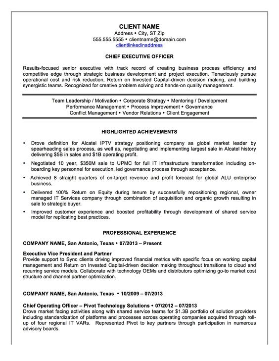 Chief Executive Officer Resume Sample -    resumesdesign - operating officer sample resume