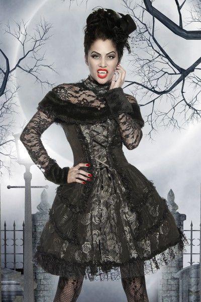 Vampirinkostüm, Luxusvampirin, Halloweenkostüm Vampirin, Vampir Kleid