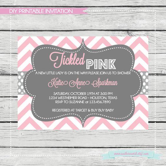Tickled Pink Baby Girl Shower Invitation Diy Printable Birthday