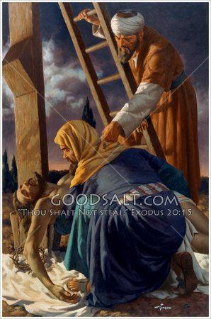 Joseph of Arimathea and Nicodemus taking Jesus down from the cross.
