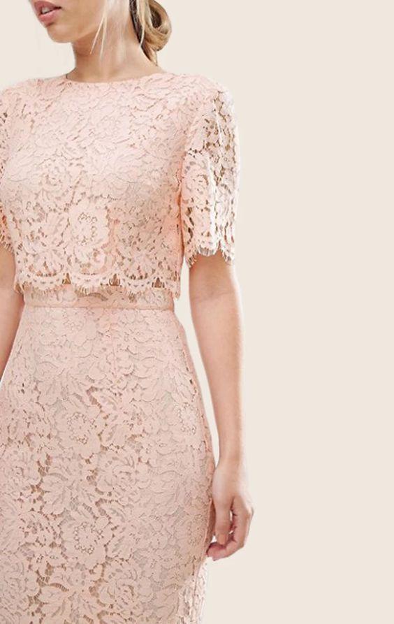 MACloth из двух частей кружева розовое платье для коктейля с короткими рукавами Midi Formal G