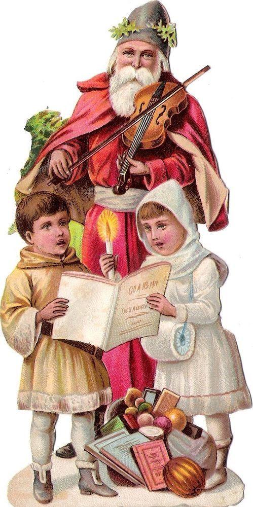 Oblaten Glanzbild scrap die cut Nikolaus  15cm father XMAS Weihnachtsmann Geige:
