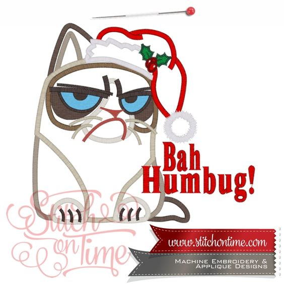 772 Christmas : Grumpy Christmas Cat 4 Sizes Inc.