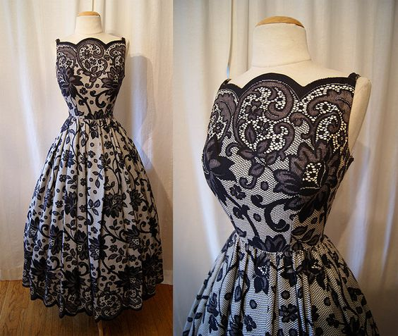 Stunning 1950&-39-s black and white lace print cotton floor length new ...