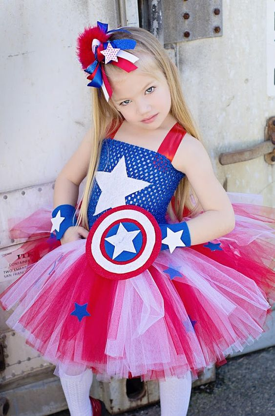 Captain America girls inspired tutu dress and costume in red blue and white: