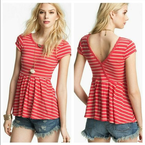 Free People V-Back Peplum Free People striped, short sleeved peplum top. it's got a cross cross v-detailing in the back that can be worn in front. It's also got detailing at the trim on top. In excellent condition, look brand new. Free People Tops Tunics