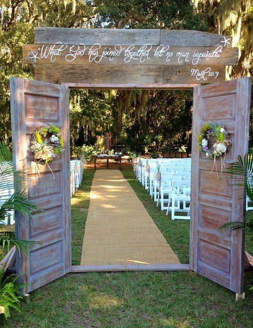outdoor wedding door diy | DIY door entrance to ceremony - they found old doors that they sanded ... by J.J.