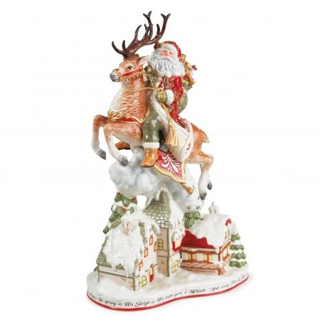 Loaded with gifts to delight all ages and toys to entice the little ones, St. Nick arrives full of good cheer on the back of his gallant buck.  With an air of modest grandeur, this heartwarming collection is sure to be a favorite at your yuletide festivities.  The intricately detailed pieces evoke the stories of St. Nick's arrival and will enchant both young and old throughout the holiday season.