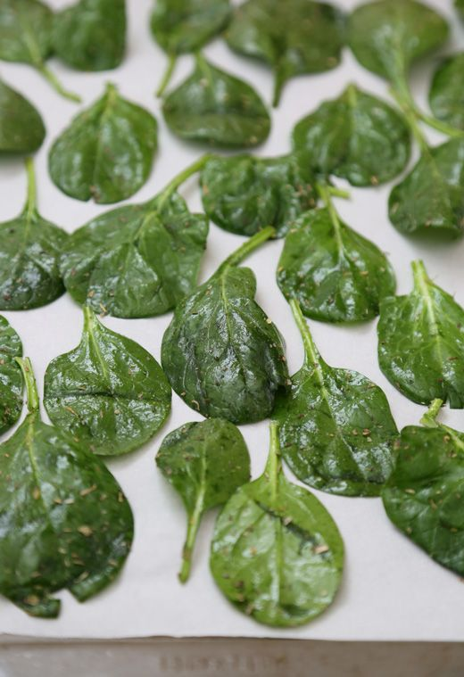 SPINACH CHIPS: 2 large handfuls of spinach, 1 Tbsp olive oil, 1/2 Tbsp Italian herb seasoning, 1/8 tsp sea salt. Bake at 350 for 9-12 minutes.
