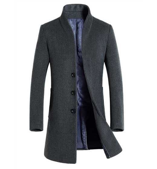 Woolen Blend Single Breasted Stand Collar Men's Overcoat
