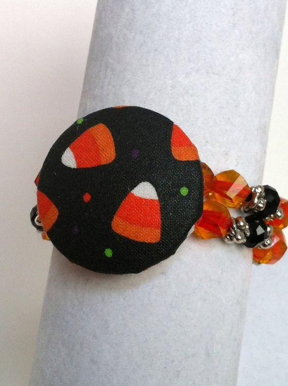 CANDY CORN Beaded Fabric Bracelet Halloween by EverydayChicJewelry, $18.00