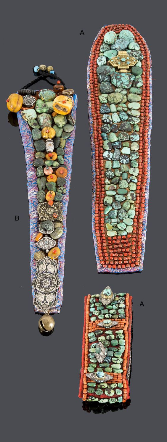 India ~ Ladakh region | Headdresses ~ Perek ~ ; Padded textiles decorated with turquoise, coral, 'amber', shell and silver tone metal ornaments | 1'000€ (Lot A) and 3'125€ (Lot B) ~ Sold (June '15)