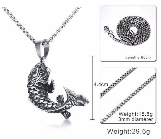 Mens koi fish necklace and koi fish pendant koi fish jewelry