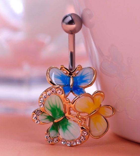 Lovely Hippie Flower Belly Ring