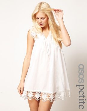 Enlarge ASOS PETITE Exclusive Cutwork Cotton Mini Dress