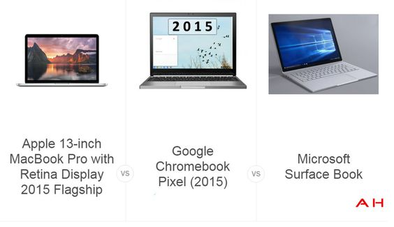 Laptop Comparisons: Apple MacBook Pro vs Chromebook Pixel vs Microsoft Surface Book