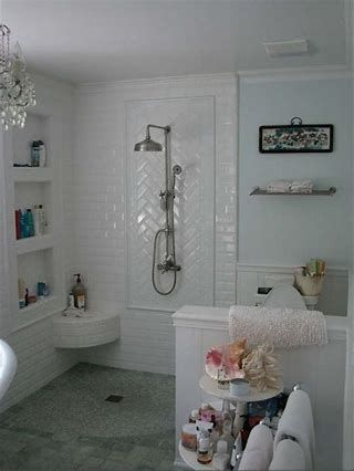 Herringbone Subway Tile In Cream Bing Images Beveled Subway Tile Small Bathroom Tiles Subway Tile Shower Niche
