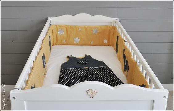 tour de lit bébé, jaune et gris  Chambre Mister L  Pinterest