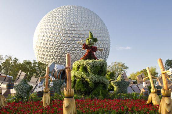 Fantasia topiary featuring Sorcerer Mickey at Epcot.