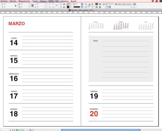 Plantilla Agenda 2016 para imprimir gratis | Posts and Barcelona