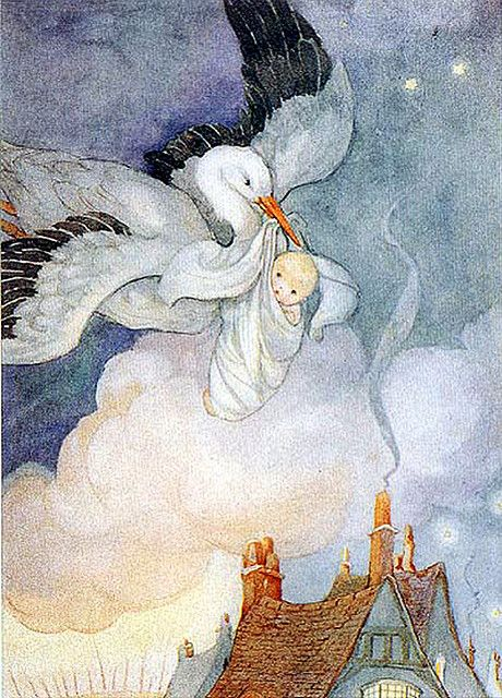 Anne Anderson--Stork and Baby