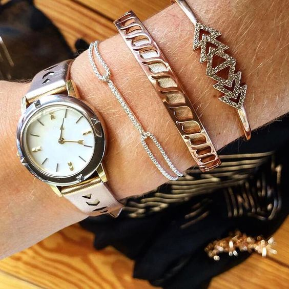 Your new rose gold arm party (plus just a few days left to shop the Inspire Bracelet while all net proceeds benefit the Noreen Fraser Foundation). #stelladotstyle. Shop through the link above or get in touch with your Stylist to eat it for free!