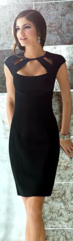 Gorgeous Little Black Dress With Lovely Neck Design 2015 Summer Arrivals: