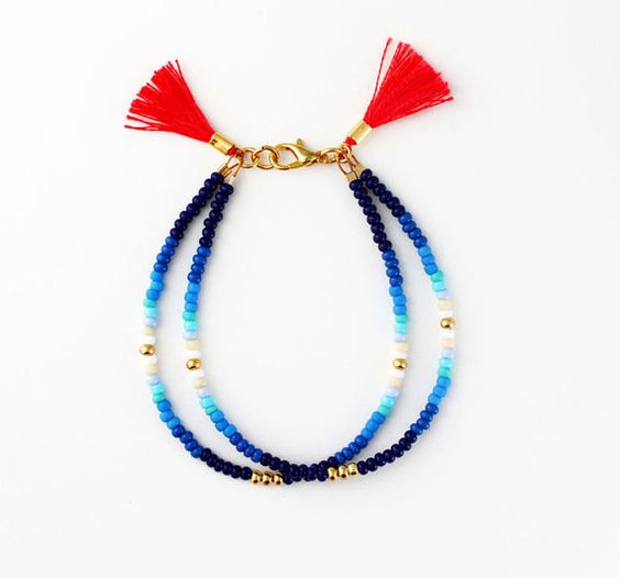 Beaded Blue Friendship Bracelet - Seed Bead Double Strand Bracelet with Tassels, Gift for Her