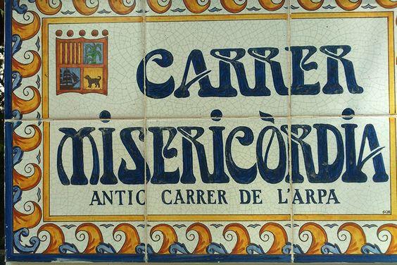 Señalización Calle de la Misericordia Canet, Costa Brava - Cataluña