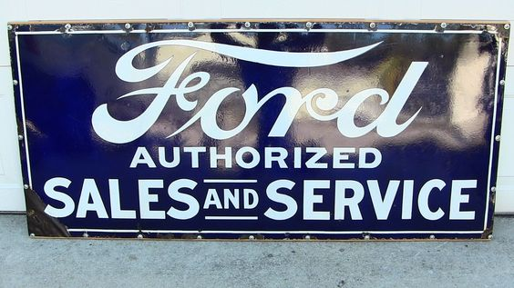 "RARE Ford Authorized Sales and Service 60""x 27 1 2"" Porcelain Dealer Sign 1920'S 