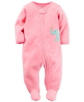 Carter's Baby Microfleece Girls' Dot-Print Elephant Footed Coverall | macys.com