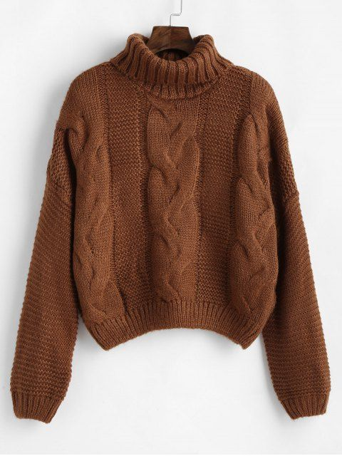 Drop Shoulder Cable Knit Turtleneck Sweater BROWN CORNSILK