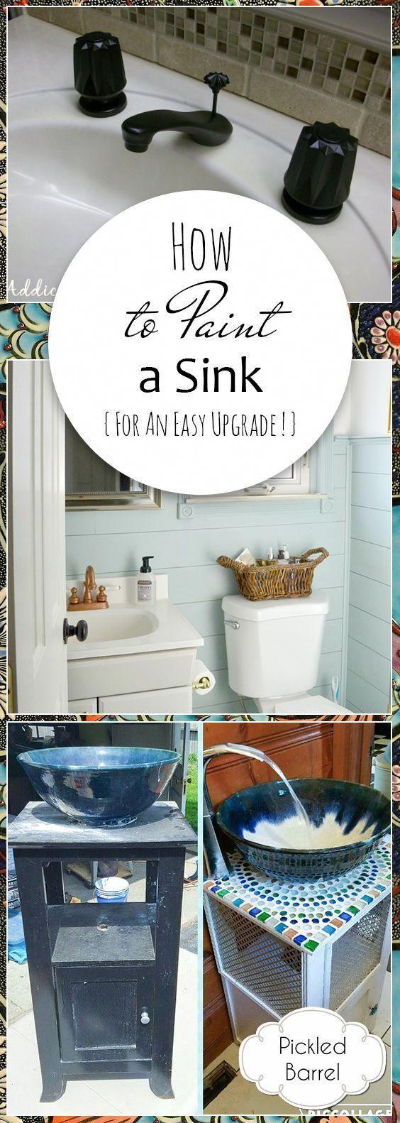 Wie Man Ein Waschbecken Fur Ein Einfaches Upgrade Lackiert Gemalte Waschbecken Wie Sie Ihr Waschbecken Mal Waschbecken Malen Badezimmer Diy Hausverschonerung
