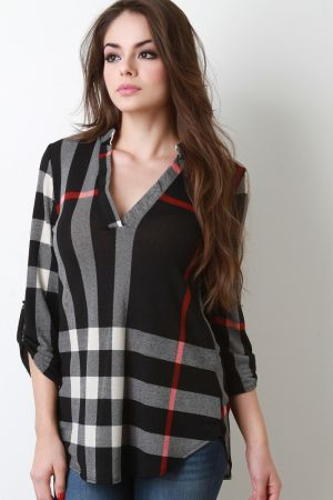 Plaid Half Placket Top. Description This  top  features plaid pattern print, half placket v- neckline, quarter-length sleeves with button tap d�cor, and rounded hemline. Accessories sold separately. Made in U.S.A.   Measurement   Size Bust Hem Length Sl;eeve   S 17 22 30 17.5   M 18 23 31 18.5   L 19 24 32 19.5